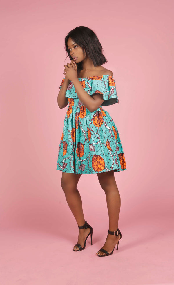 Green and Orange African Print off Shoulder Dress, Dress - Rufina Designs