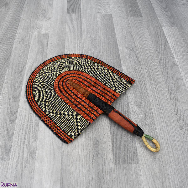 Straw Hand Fan, Bolga Fan - B015