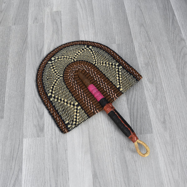 Straw Hand Fan, Bolga Fan - B013