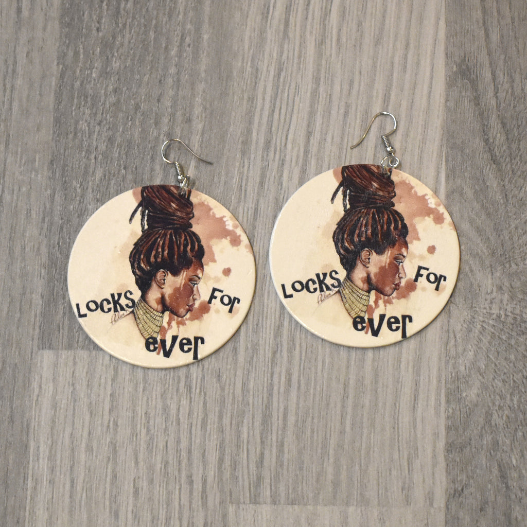 Locks Lady Wooden Earring, earring - Rufina Designs