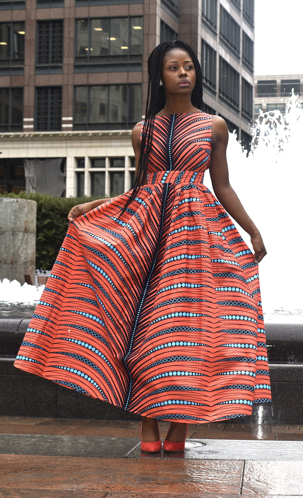 Gabby African print low back maxi dress, Dress - Rufina Designs