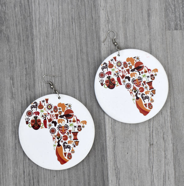 African Map Wooden Earring, earring - Rufina Designs