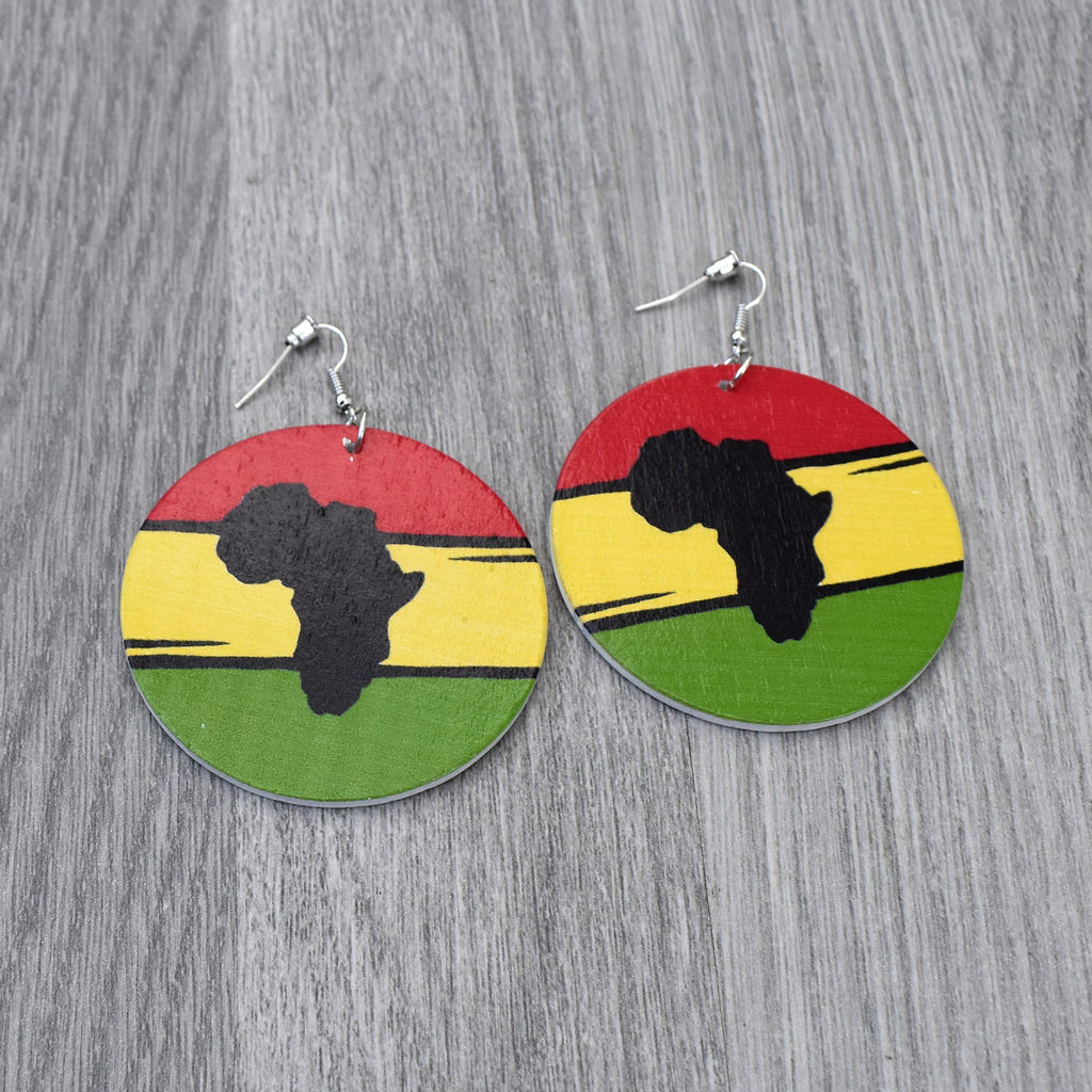 Map of African Wooden Earring, earring - Rufina Designs