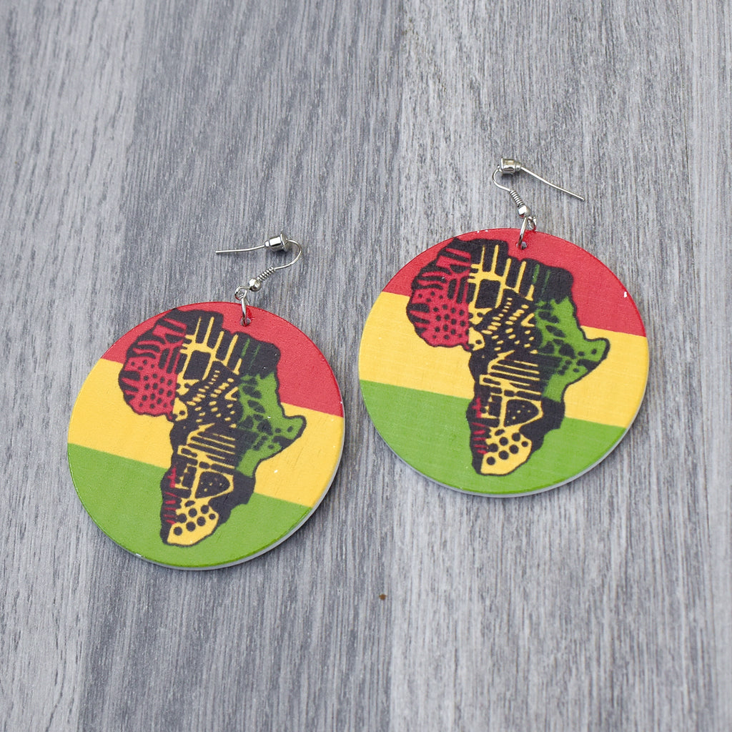 Map of Africa Wooden Earring, earring - Rufina Designs