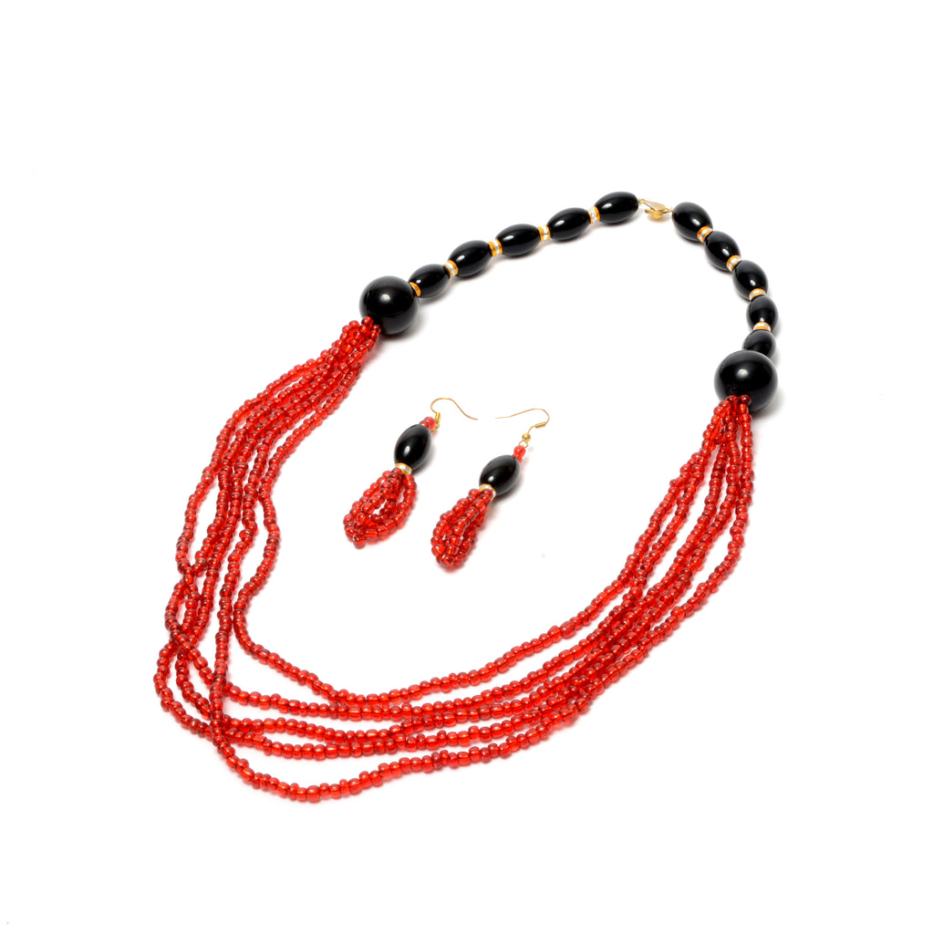 Sade Red Multi Strand Necklace, Necklace - Rufina Designs