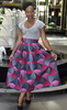 Donna Pink and Grey African Print Midi Skirt, Skirt - Rufina Designs