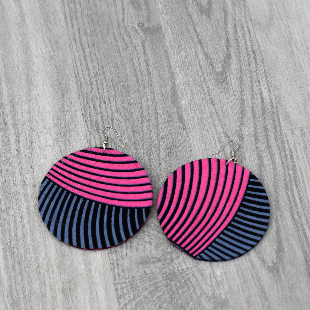 Tina African Print Round Earring, earring - Rufina Designs