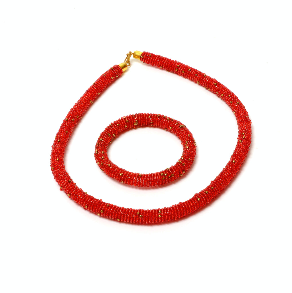 Saara Red Bead Rope necklace, Necklace & Set - Rufina Designs
