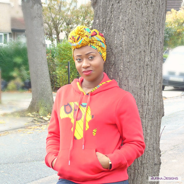 African Print Head wrap, Dreadlock Scarf Head Wrap - Oheneba, Headwraps - Rufina Designs