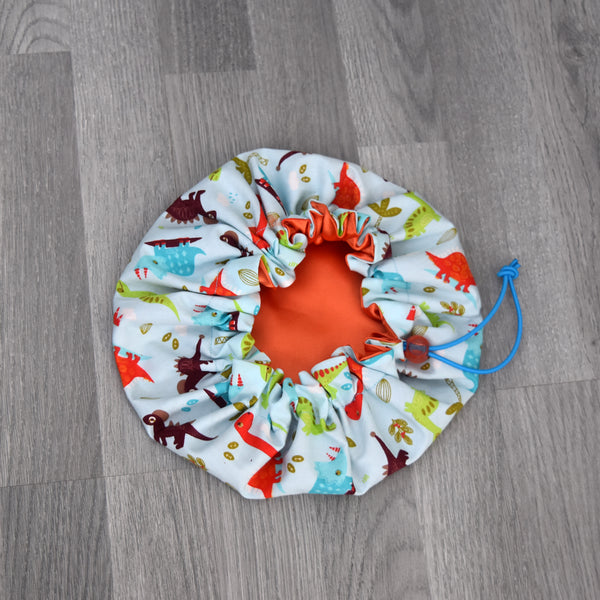 African Print Satin Bonnet for children - Jurasic