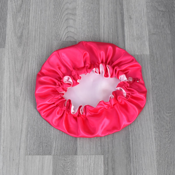 Reversible Satin Bonnet for children - Pinky