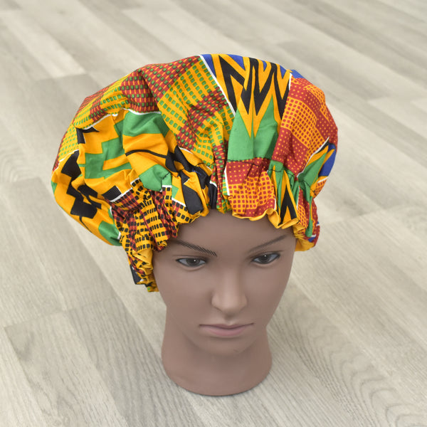 African Print Satin Sleep Bonnet - Nass, Satin Bonnet - Rufina Designs