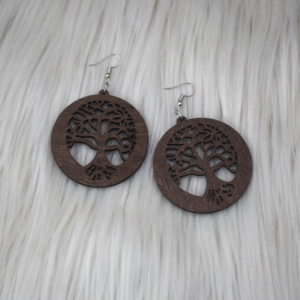 Tree of Life Wooden Earring, earring - Rufina Designs