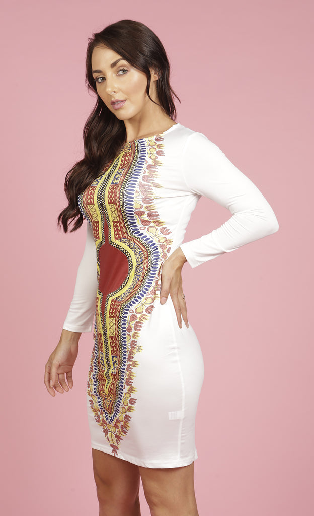 White and red bodycon dashiki midi dress, Dress, Rufina, [shop_name,- Rufina