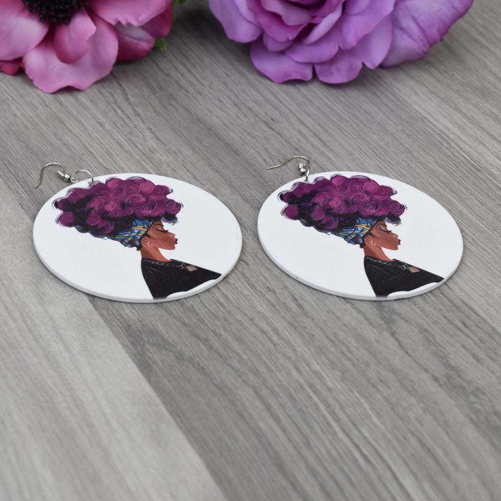 Wooden Afro Woman Earring, earring - Rufina Designs