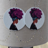 Wooden Afro Woman Earrings, earring, Rufina, [shop_name,- Rufina