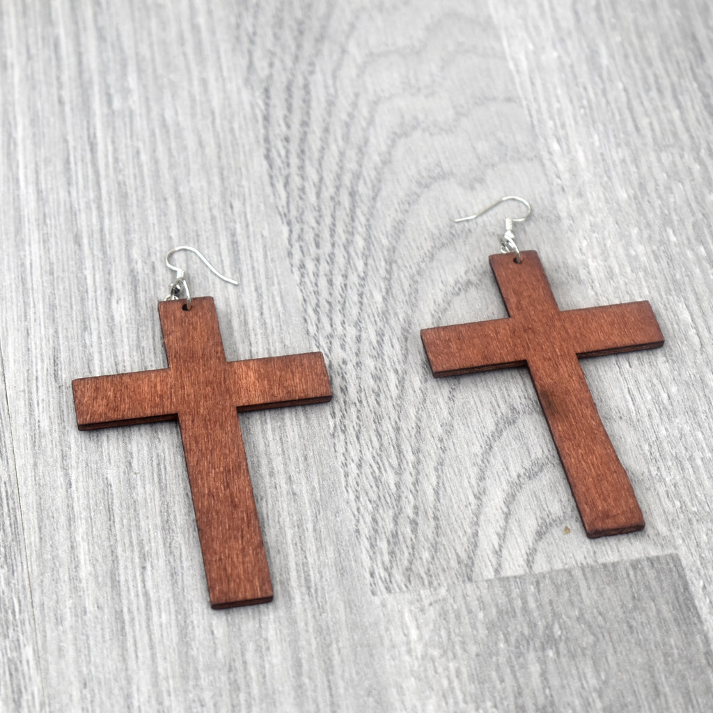 Wooden Cross Earring, earring - Rufina Designs