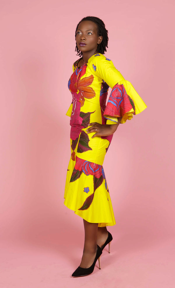 Yellow Floral Off Shoulder Dress, Dress - Rufina Designs