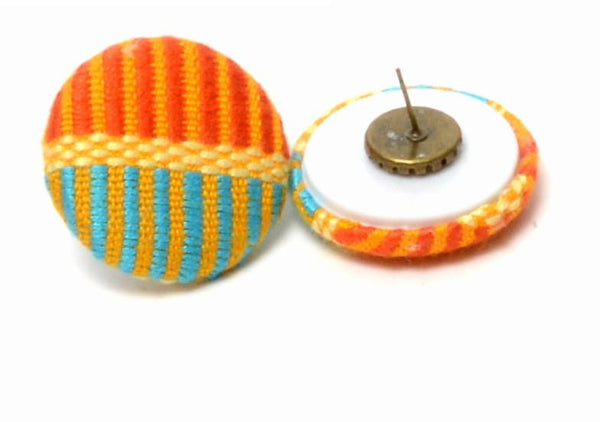 Abby orange & turquoise kente button stud earring, earring - Rufina Designs