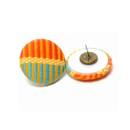 Abby orange & turquoise kente button stud earring - Rufina