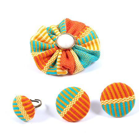 Abby Kente Hair pin & Kente Button earring, Hair & Brooch, Rufina, [shop_name,- Rufina