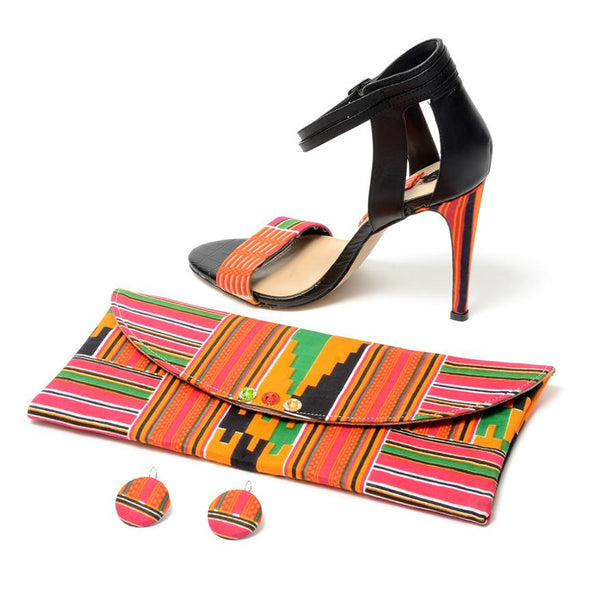 Efie Kente Print Open Toe Heel Shoe, High Heel - Rufina Designs