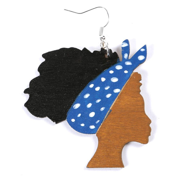 Ivy Blue Afro girl wooden earring, earring - Rufina Designs