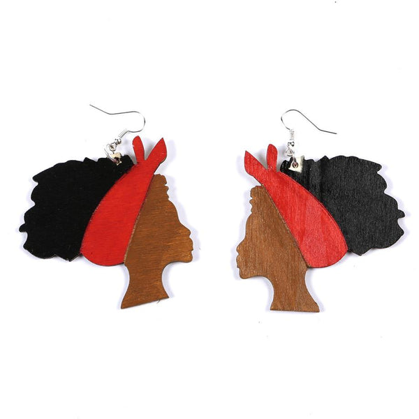 Ivy Red Afro Girl Wooden Earring, earring - Rufina Designs
