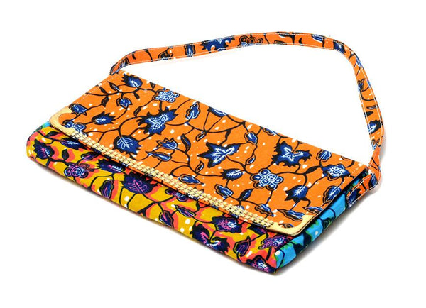 Keira Orange Floral African Print Clutch Purse, Bags & purse - Rufina Designs