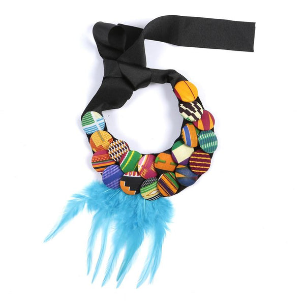 Leena African Print Button Feather Necklace, Necklace - Rufina Designs