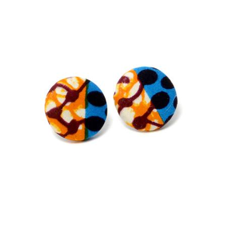 Lola African Print Button Earrings, earring - Rufina Designs
