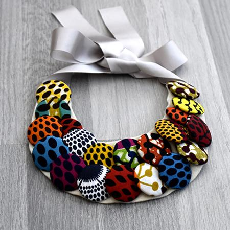 Lola African Print Button Bib Necklace, Necklace - Rufina Designs