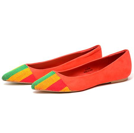 Naa Kai Red Kente flat shoes, Flat shoe - Rufina Designs