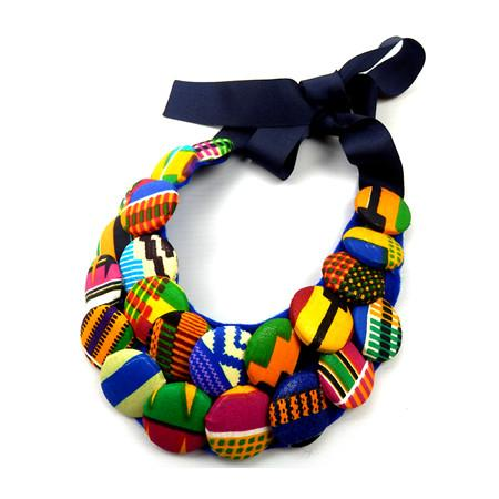 Rosia Kente Print Button Bib Necklace, Necklace - Rufina Designs