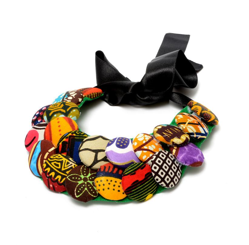 Rosie African Print Button Necklace, Necklace - Rufina Designs