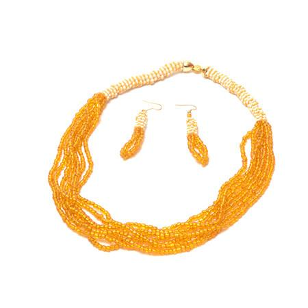 Sisi Yellow Multi Strand Bead Necklace, Necklace & Set - Rufina Designs