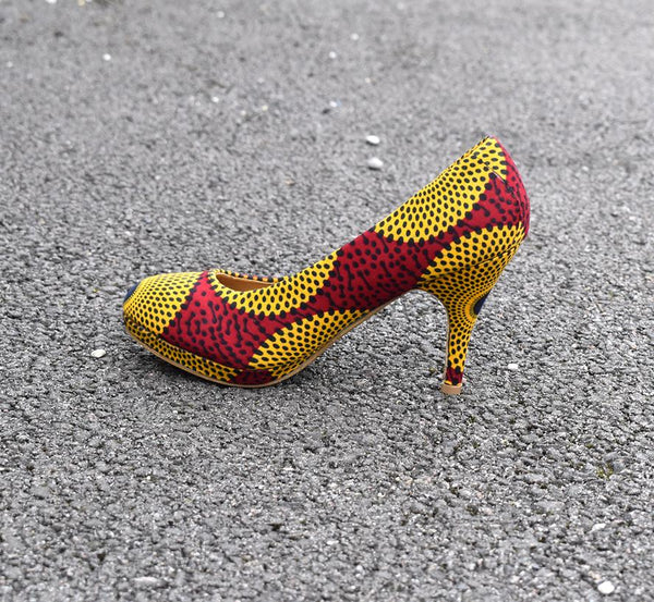 Tipo African Print Court Shoe, High Heel - Rufina Designs