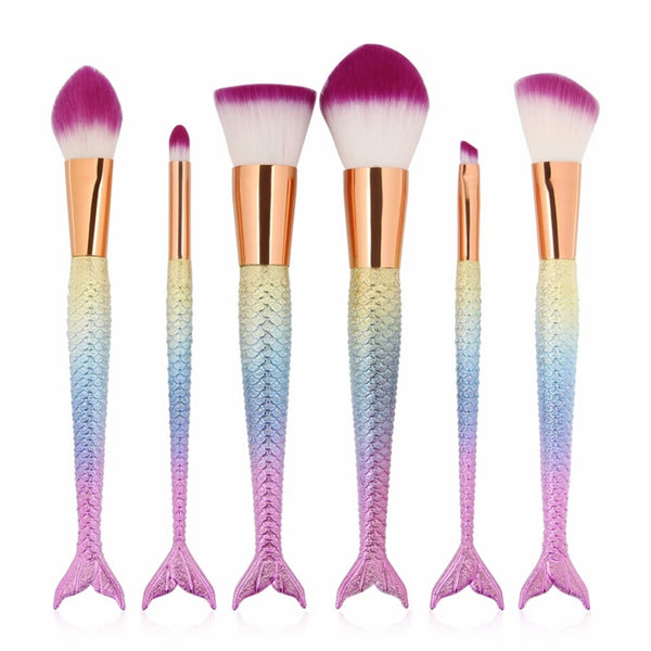 Rainbow mermaids tail brush set