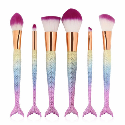 Rainbow mermaid tail brush set