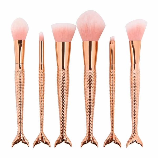 Rose gold mermaids tail brush set