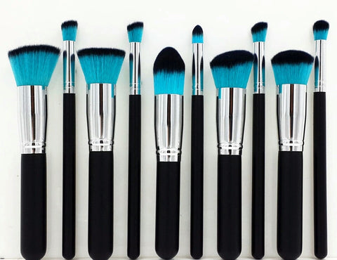 Bold and blue 10 piece brush set