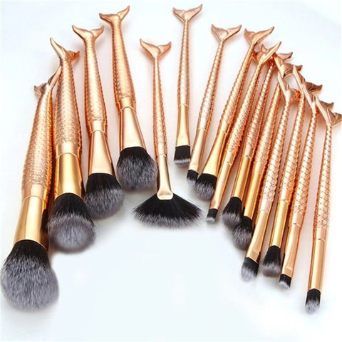 Rose Gold Mermaid Tails Brush Set