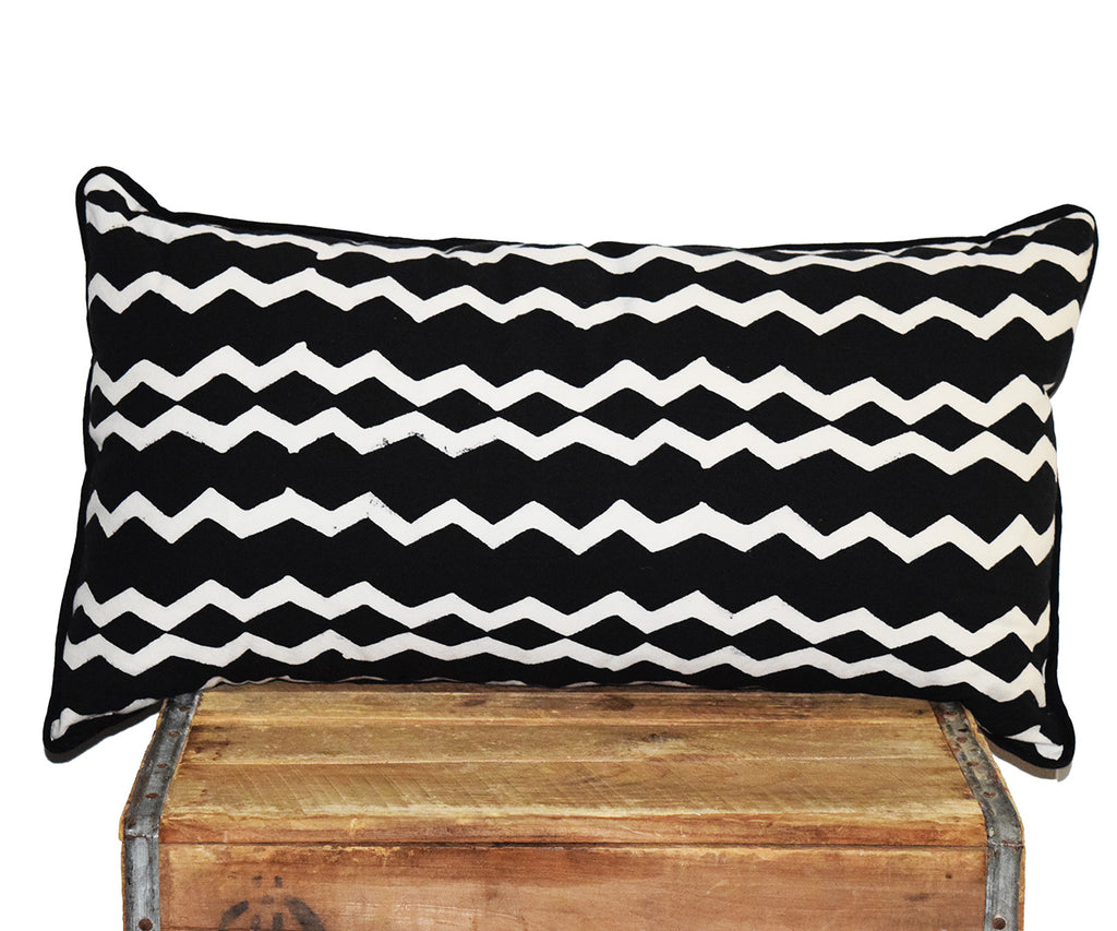 Cotton Lumbar Pillow | Geri Black + White