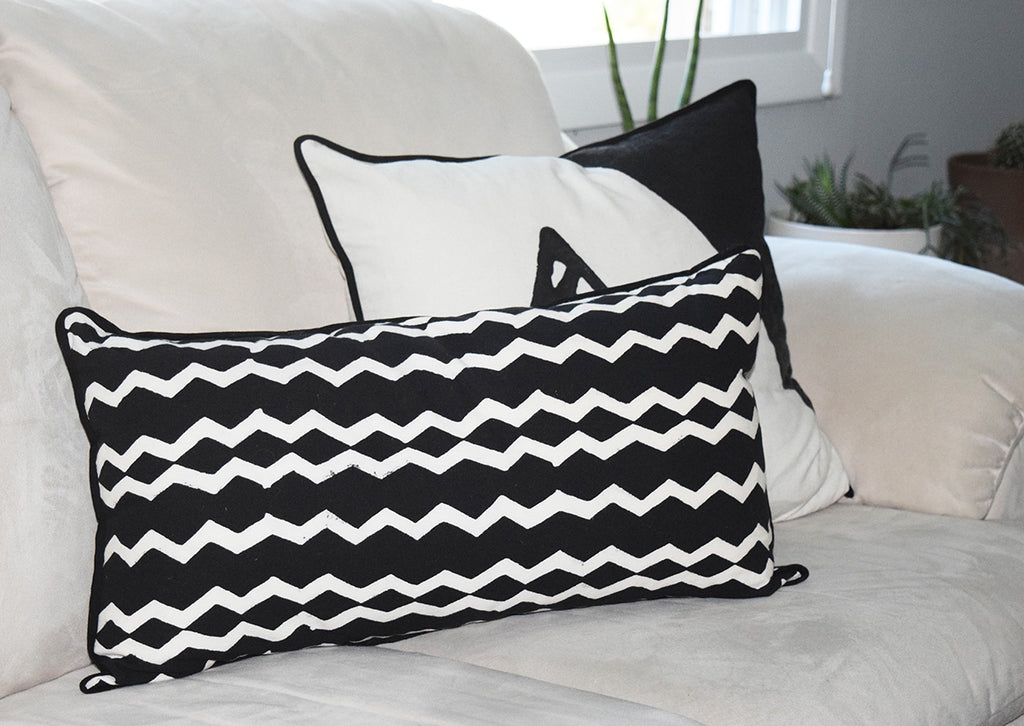 Cotton Lumbar Pillow | Geri Black