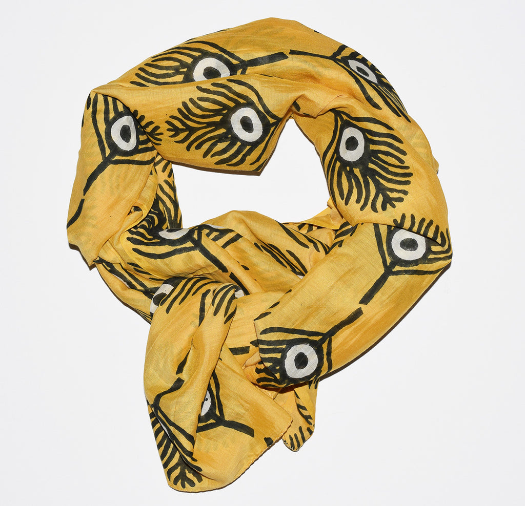 Cotton Silk Scarf | Plumes Marigold