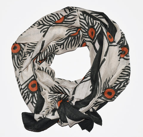 Cotton Silk Scarf | Plumes Rust