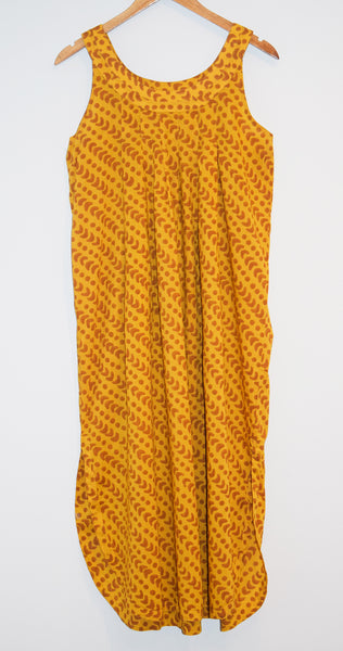 Athens Dress | Crescent Dot Yellow