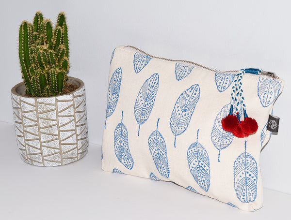 Large Canvas Zipper Pouch | Feathers Blue