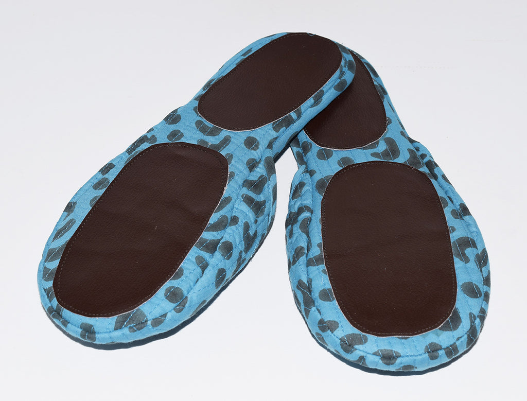 House Slippers | Crescent Dot Azure