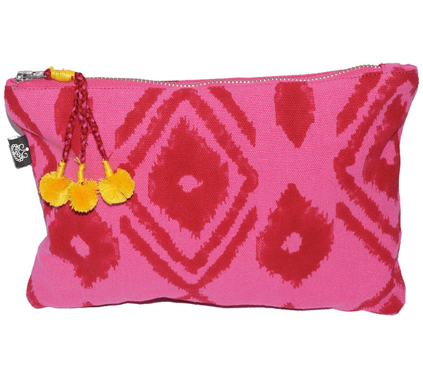 Large Canvas Zipper Pouch | Kuta Ikat Berry